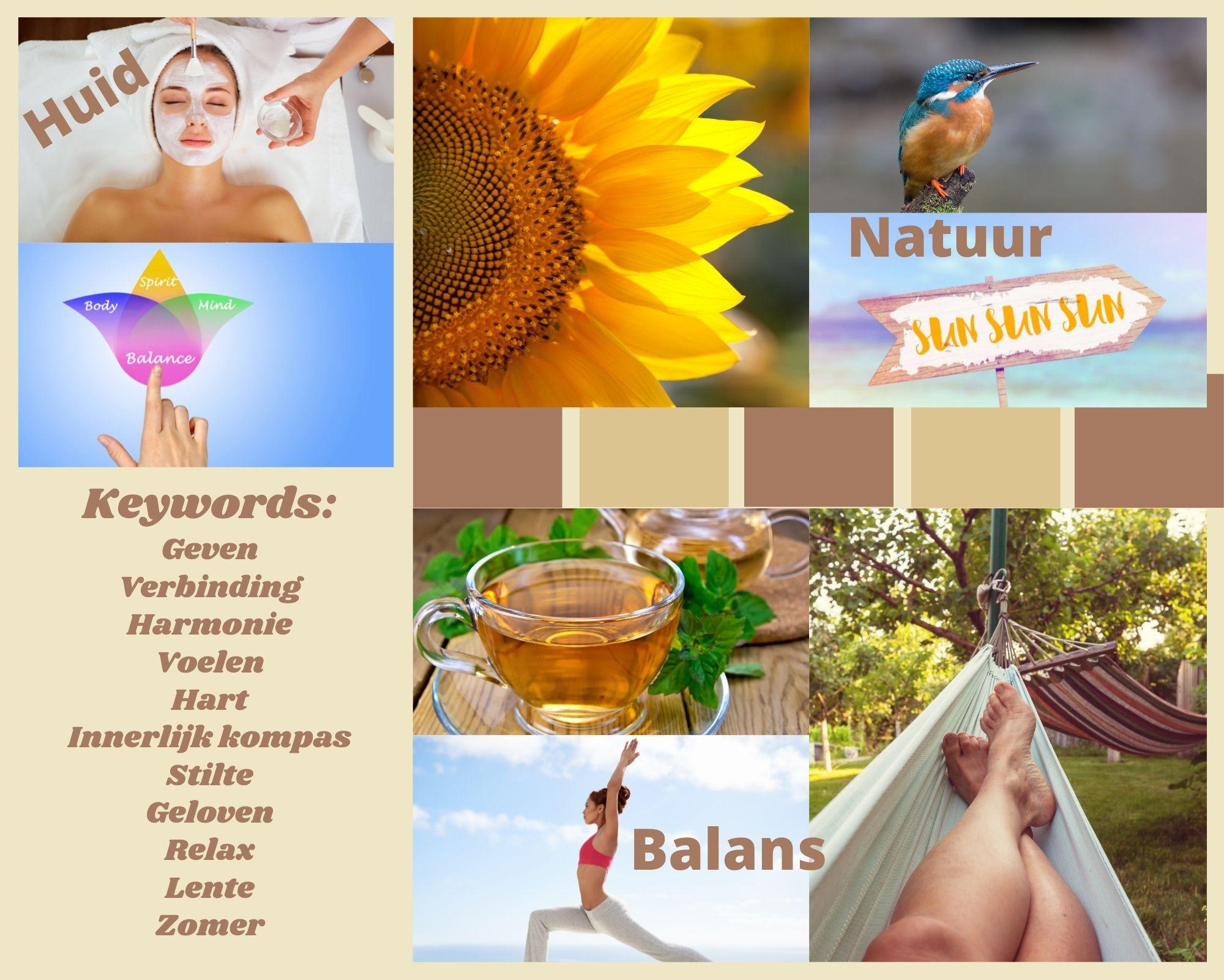moodboard, balans, innerlijk kompas, geven, verbinding, harmonie, voelen, hart, stilte, geloven, relax, zomer, lente